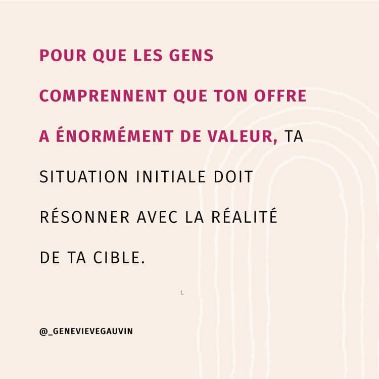 Pour que les gens comprennent que ton offre a énormément de valeur, ta situation initiale doit résonner avec la réalité de ta cible.
